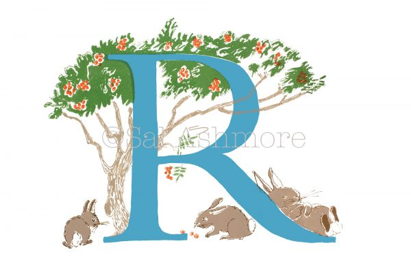 Illustrated alphabet letter R print
