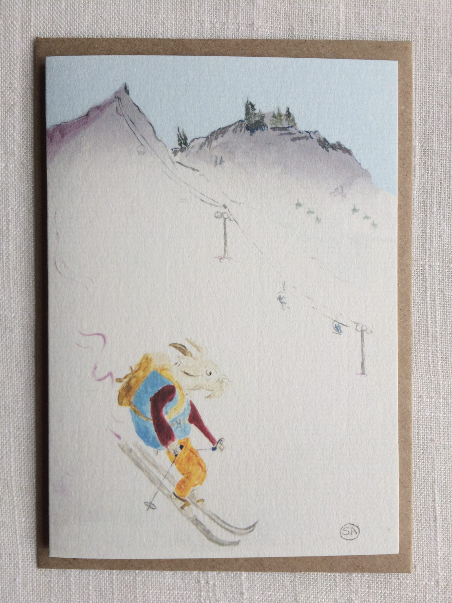 Greeting Cards Sporty Mountain Goat In His Natural Habitat