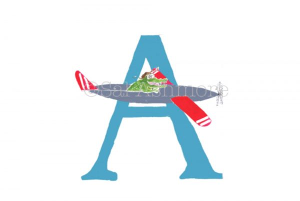 letter A of alligator in his aeroplane