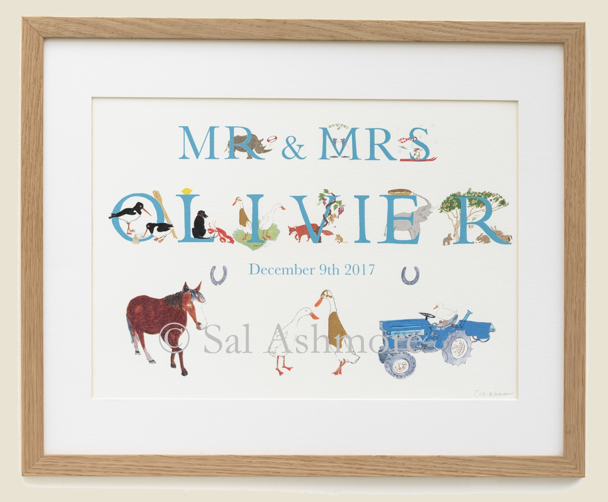 Personalised print to celebrate a wedding