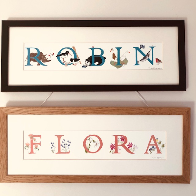 Framed pictures of illustrated letter names, Robin and Flora