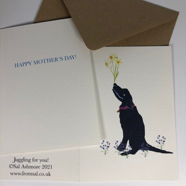 """A GRINNING black labrador juggles daffodils on it's nose, thinking """"juggling for you """" - inscription inside reads HAPPY MOTHER'S DAY"""