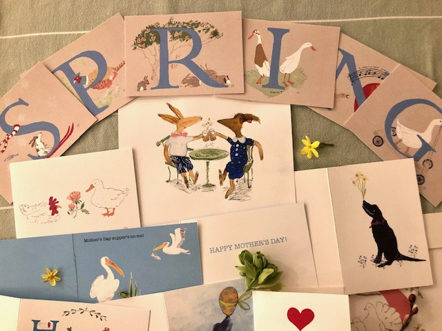 a display showing fun, quirky spring in spired , cards I draw - animals and nature, for mother's Day, Easter celebrating friendships and to lighten the mood!