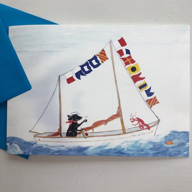 A sailing boat dressed in flags reading HAPPY BIRTHDAY, with an old seadog and his lobster aboard cracking open the champagne. Greetings cards