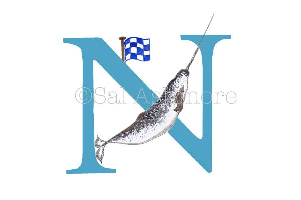Story Letter Print N - The Narwhal and his Navigation Flag N