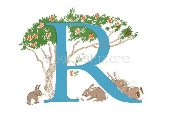 Story Letter Print R - Rabbits under the Rowan Tree