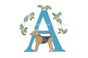 Story Letter Print A – Airedale under Acorns
