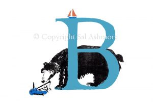 Story Letter Print B - Bear bemused by Bagpipes