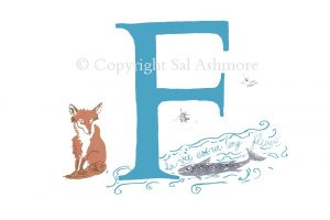 Story Letter Print F - Foxy French Fish in the Fleuve