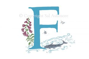Story Letter Print F - Foxglove French Fish in the Fleuve