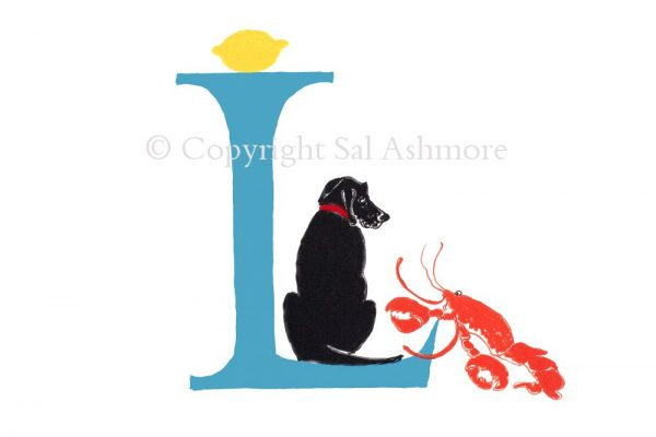 Story Letter Print L - 'Have you seen my Lemon?' Lobster asked Labrador