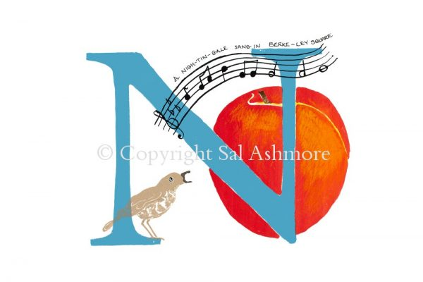 Story Letter Print N - A Nightingale sang in Berkeley Square