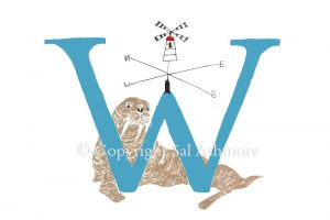 Story Letter Print W - Walrus under the Windmill Weathervane